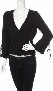 Czarna bluzka Even&Odd z dekoltem w kształcie litery v w stylu casual z długim rękawem