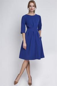 Niebieska sukienka Pawelczyk24.pl z długim rękawem midi