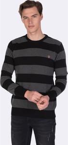 Czarny sweter Giorgio Di Mare z bawełny w młodzieżowym stylu z okrągłym dekoltem