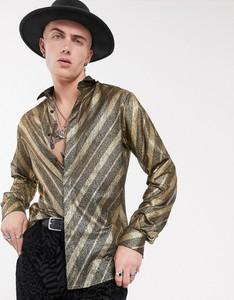 Złota koszula Twisted Tailor z klasycznym kołnierzykiem z długim rękawem