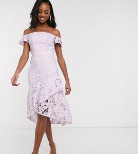 Fioletowa sukienka Chi Chi London Tall midi