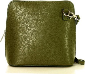 Zielona torebka MAZZINI na ramię ze skóry