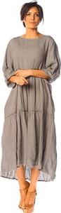 Sukienka La Compagnie Du Lin z lnu z długim rękawem