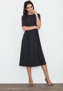 Czarna sukienka sukienki.pl z okrągłym dekoltem maxi