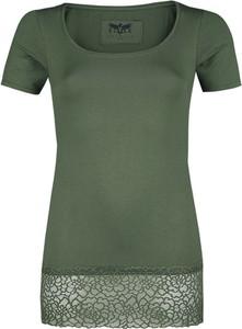 Zielony t-shirt Emp z krótkim rękawem w stylu casual