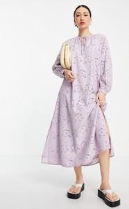 Fioletowa sukienka Y.A.S z długim rękawem koszulowa w stylu casual
