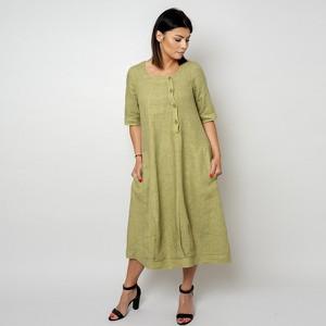 Sukienka Willsoor z dekoltem w kształcie litery v z lnu
