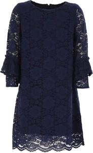 Niebieska sukienka dziewczęca Monnalisa z bawełny