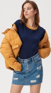 Granatowy t-shirt Sinsay z okrągłym dekoltem w stylu casual z krótkim rękawem