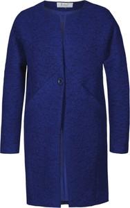 Niebieski płaszcz Fokus z wełny