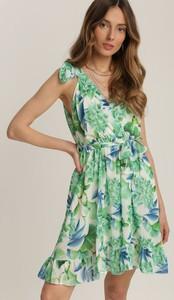 Zielona sukienka Renee z dekoltem w kształcie litery v z krótkim rękawem