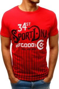 Czerwony t-shirt Dstreet z krótkim rękawem z bawełny z nadrukiem