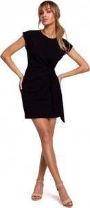 Czarna sukienka MOE z bawełny z krótkim rękawem