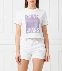 Bluzka Calvin Klein w młodzieżowym stylu z okrągłym dekoltem z krótkim rękawem