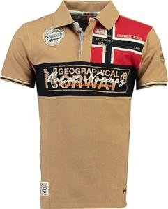 Brązowa koszulka polo Geographical Norway z bawełny z krótkim rękawem