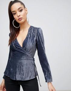 Fioletowa bluzka Asos z długim rękawem
