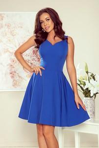 Niebieska sukienka NUMOCO rozkloszowana mini z dekoltem w kształcie litery v