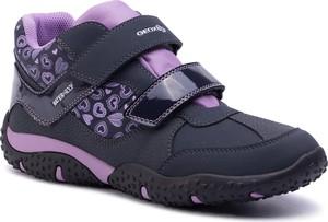 Niebieskie buty dziecięce zimowe Geox na rzepy z plaru
