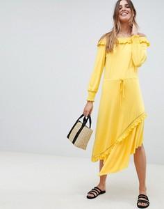 Żółta sukienka Asos Design z długim rękawem
