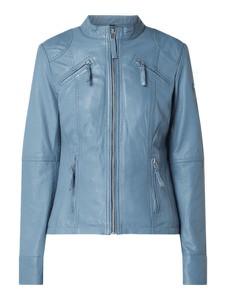 Niebieska kurtka Cabrini ze skóry w stylu casual krótka
