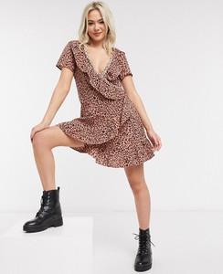 Brązowa sukienka Brave Soul z krótkim rękawem mini