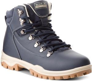Niebieskie buty trekkingowe Sprandi ze skóry ekologicznej sznurowane w sportowym stylu
