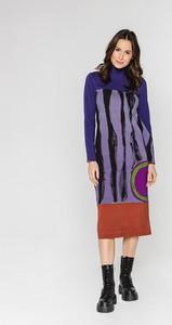 Sukienka Lavard w stylu casual z długim rękawem midi