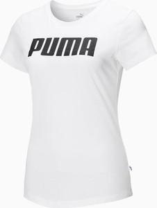 T-shirt Puma z bawełny w sportowym stylu z okrągłym dekoltem