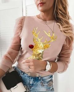 Bluzka Kendallme w stylu casual z długim rękawem z okrągłym dekoltem