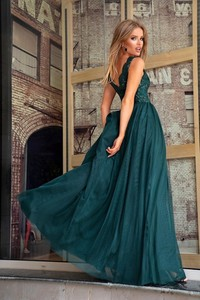 Zielona sukienka Emo Sukienki maxi rozkloszowana bez rękawów