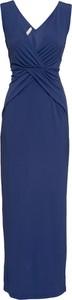 Niebieska sukienka bonprix BODYFLIRT boutique z dekoltem w kształcie litery v maxi