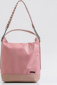 Różowa torebka Monnari w stylu casual ze skóry ekologicznej