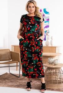 Sukienka KARKO z okrągłym dekoltem z krótkim rękawem dla puszystych
