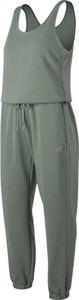 Zielony kombinezon New Balance w sportowym stylu z tkaniny z długimi nogawkami
