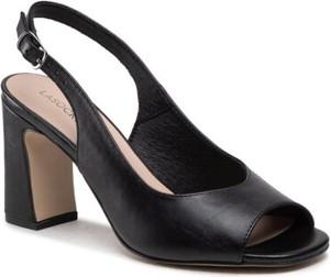 Czarne sandały Lasocki na obcasie z klamrami ze skóry