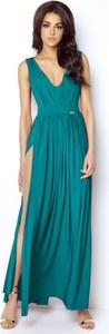 Niebieska sukienka Ivon z dekoltem w kształcie litery v maxi