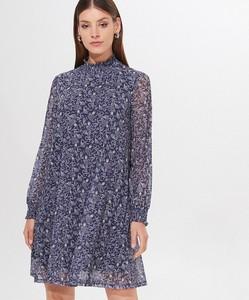 Niebieska sukienka Mohito mini z długim rękawem