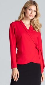 Czerwona bluzka Figl z długim rękawem z dekoltem w kształcie litery v