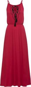 Czerwona sukienka bonprix BODYFLIRT w stylu boho z dekoltem halter maxi
