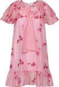 Różowa sukienka Custommade w bożonarodzeniowy wzór mini z okrągłym dekoltem