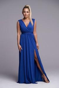 Niebieska sukienka Ella Boutique maxi z dekoltem w kształcie litery v bez rękawów