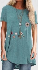 Niebieska bluzka Cikelly z bawełny z okrągłym dekoltem z krótkim rękawem