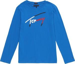 Niebieska koszulka dziecięca Tommy Hilfiger z tkaniny