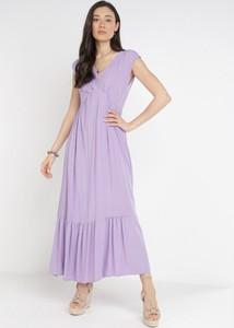 Fioletowa sukienka born2be trapezowa bez rękawów