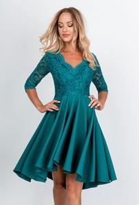 Turkusowa sukienka Zoio z dekoltem w kształcie litery v z długim rękawem