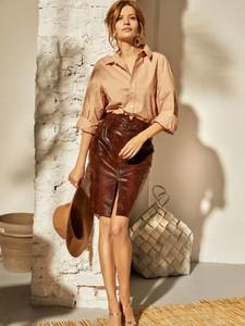 Spódnica Fan Leather ze skóry midi