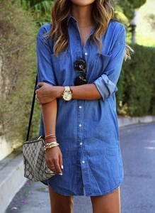 Niebieska sukienka Cikelly koszulowa mini z dekoltem w kształcie litery v