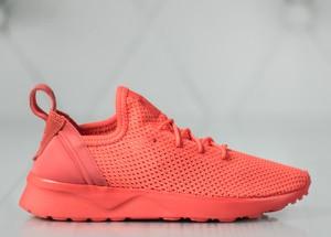 Pomarańczowe buty sportowe Adidas z płaską podeszwą zx flux