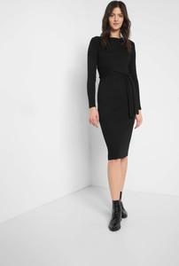 Czarna sukienka ORSAY z dzianiny z długim rękawem midi