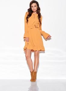Brązowa sukienka N/A mini rozkloszowana z długim rękawem